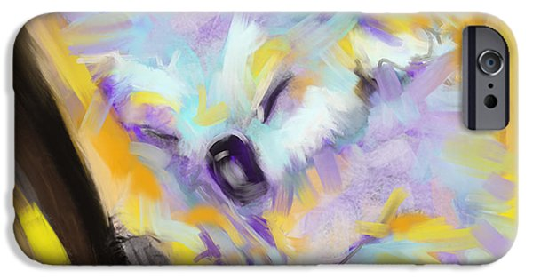Koala Digital Art iPhone Cases - Wildlife Cuddle Koala iPhone Case by Go Van Kampen