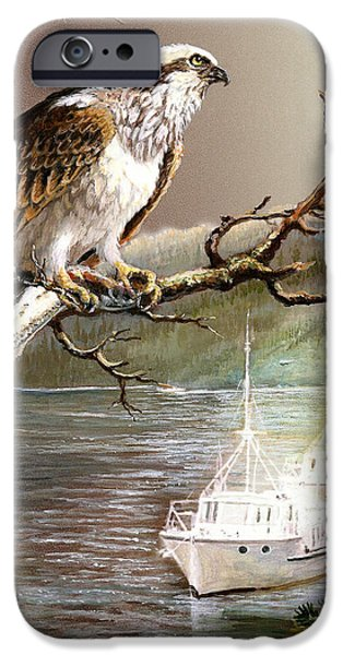 Wildlife Imagery iPhone Cases - Wildlife Ospey Fishing Competition iPhone Case by Gina Femrite