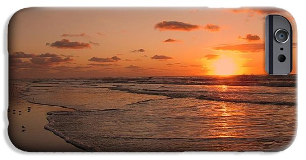 Seagull iPhone Cases - Wildwood Beach Sunrise II iPhone Case by David Dehner