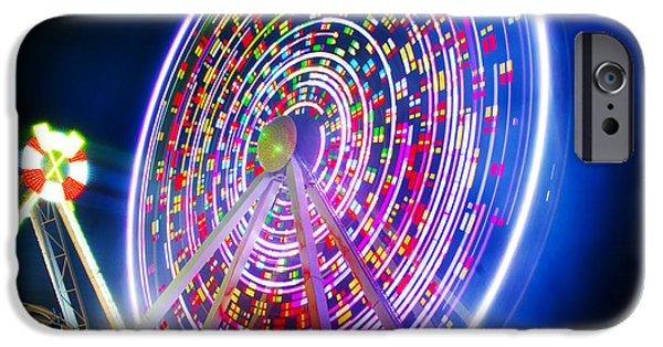 Beach At Night iPhone Cases - Wildwood Ferris Wheel at Night iPhone Case by Bill Cannon