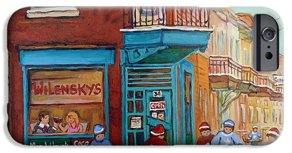 Hockey Paintings iPhone Cases - Wilensky Montreal-fairmount And Clark-montreal City Scene Painting iPhone Case by Carole Spandau