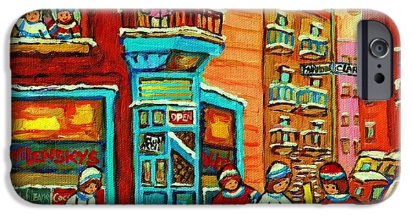 Hockey Paintings iPhone Cases - Wilenskys Corner Hockey Game Montreal Winter Diner Paintings Carole Spandau iPhone Case by Carole Spandau