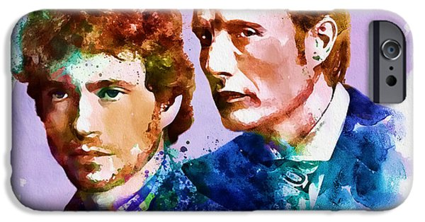Police Art iPhone Cases - Will and Hannibal watercolor iPhone Case by Marian Voicu