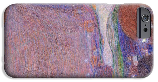 Figures Paintings iPhone Cases - Will O The Wisps iPhone Case by Gustav Klimt