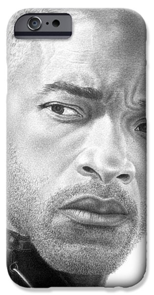 4th July Drawings iPhone Cases - Will Smith iPhone Case by Marvin Lee