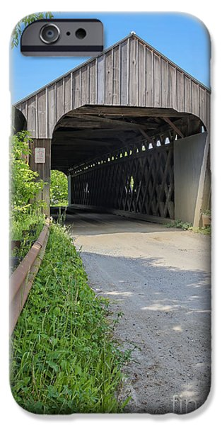 Covered Bridge iPhone Cases - Willard Covered Bridge North Hartland Vermont iPhone Case by Edward Fielding