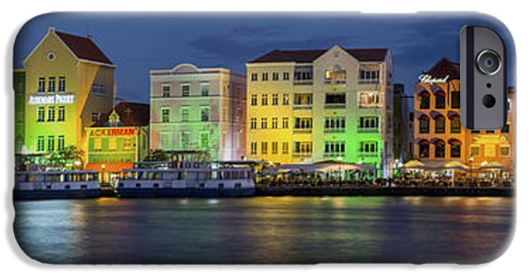 Sailboat iPhone Cases - Willemstad Curacao at Night Panoramic iPhone Case by Adam Romanowicz