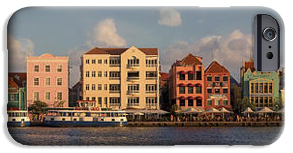 Sailboat iPhone Cases - Willemstad Curacao Panoramic iPhone Case by Adam Romanowicz