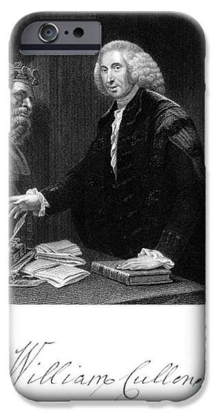 Statue Portrait iPhone Cases - William Cullen (1710-1790) iPhone Case by Granger