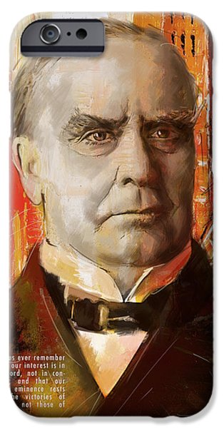 Thomas Jefferson Paintings iPhone Cases - William McKinley iPhone Case by Corporate Art Task Force