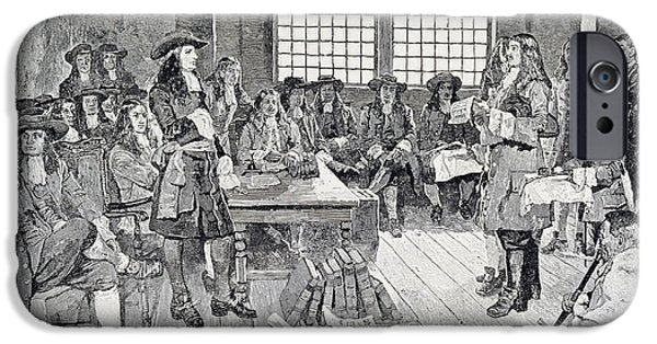Quaker iPhone Cases - William Penn In Conference With The Colonists, Illustration From The First Visit Of William Penn iPhone Case by Howard Pyle