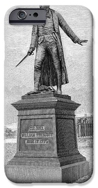 Statue Portrait iPhone Cases - William Prescott (1726-1795) iPhone Case by Granger