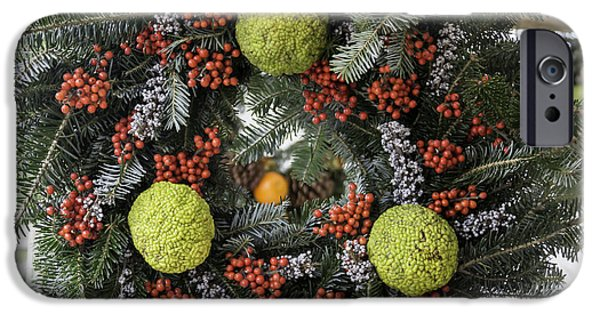 Historic Triangle iPhone Cases - Williamsburg Wreath Squared iPhone Case by Teresa Mucha