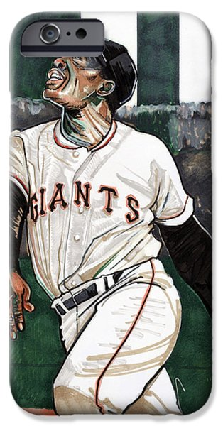All Star Game iPhone Cases - Willie Mays iPhone Case by Dave Olsen