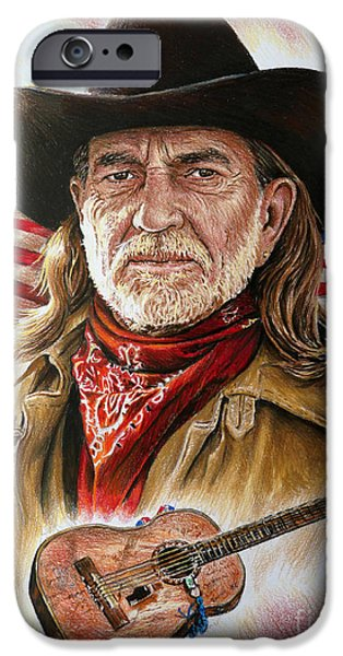 4th July iPhone Cases - Willie Nelson American Legend iPhone Case by Andrew Read