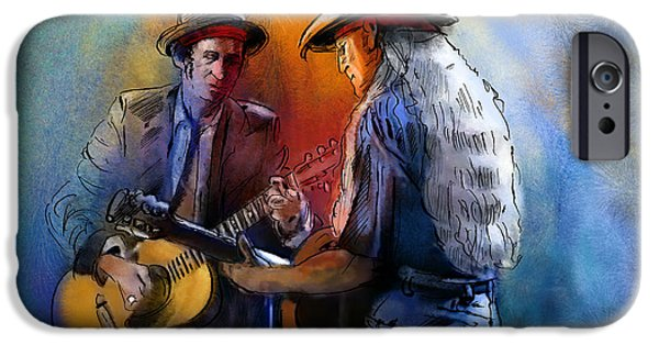 Keith Richards iPhone Cases - Willie Nelson and Keith Richards iPhone Case by Miki De Goodaboom