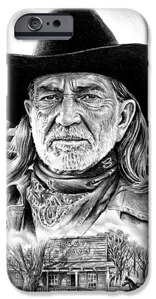 American Flag Drawings iPhone Cases - Willie Nelson iPhone Case by Andrew Read