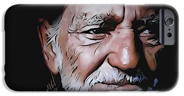 Legendary Music Singers iPhone Cases - Willie Nelson iPhone Case by Dan Sproul