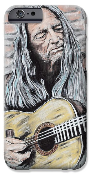 Country Pastels iPhone Cases - Willie Nelson iPhone Case by Melanie D