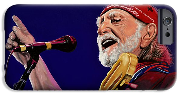 Celebrities Art Paintings iPhone Cases - Willie Nelson iPhone Case by Paul Meijering