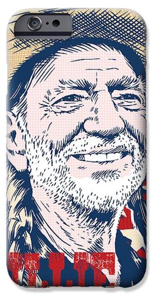 Johnny iPhone Cases - Willie Nelson Pop Art iPhone Case by Jim Zahniser