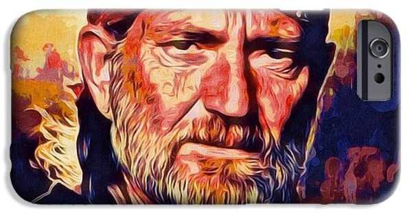 Figures iPhone Cases - Willie Nelson Portrait iPhone Case by Scott Wallace