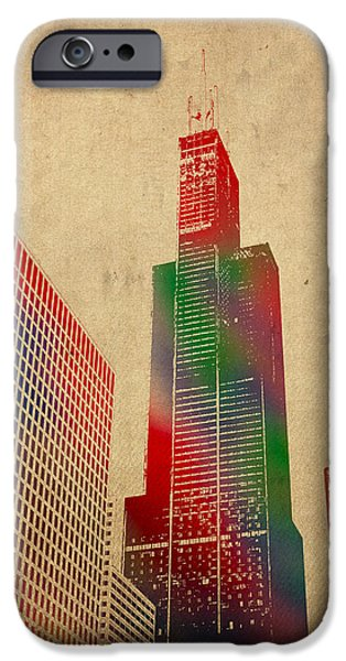 Skyscraper Mixed Media iPhone Cases - Willis Sears Tower Chicago Illinois Watercolor on Worn Canvas Series iPhone Case by Design Turnpike