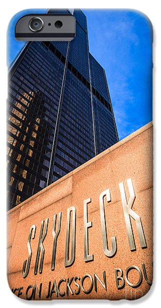 Sears Tower iPhone Cases - Willis-Sears Tower Skydeck Sign iPhone Case by Paul Velgos