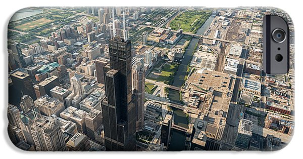 Willis Tower iPhone Cases - Willis Tower Southwest Chicago Aloft iPhone Case by Steve Gadomski