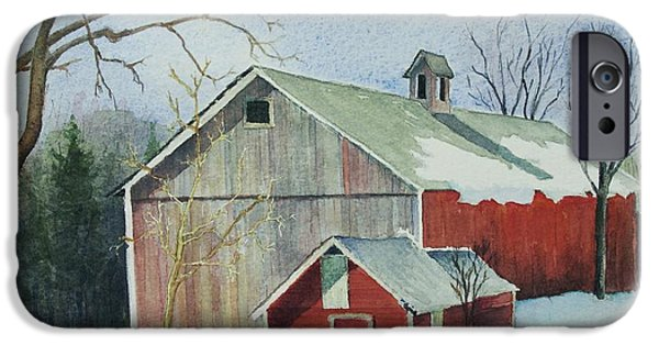 New England Snow Scene iPhone Cases - Williston Barn iPhone Case by Mary Ellen  Mueller Legault