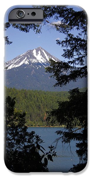 Willow Lake iPhone Cases - Willow Lake in the Shadow of Mt. McGloughlin iPhone Case by Ray Finch