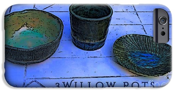 Designs Ceramics iPhone Cases - Willow Pots iPhone Case by Joan-Violet Stretch