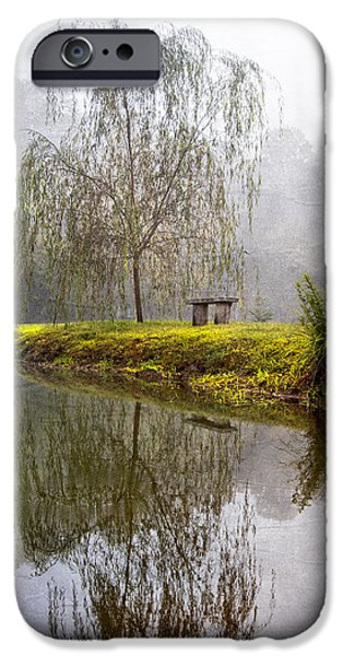 Willow Lake iPhone Cases - Willow Tree at the Pond iPhone Case by Debra and Dave Vanderlaan