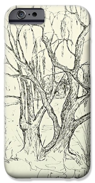 Willow Lake Drawings iPhone Cases - Willows By The Lake iPhone Case by Leanne Seymour