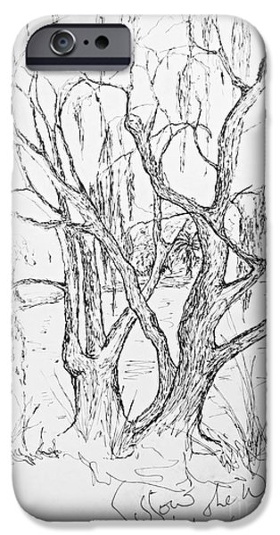 Willow Lake Drawings iPhone Cases - Willows By The Lake - Within Border iPhone Case by Leanne Seymour