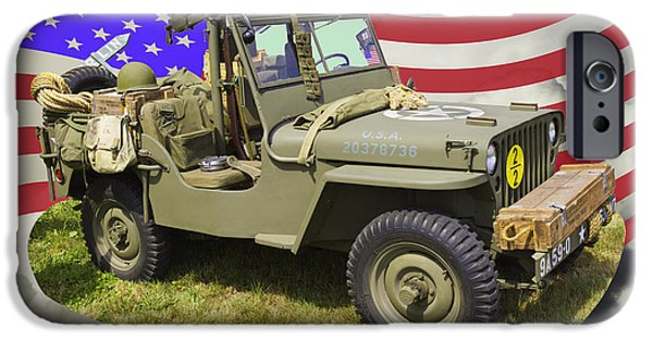 American Flag Digital Art iPhone Cases - Willys World War Two Army Jeep And American Flag iPhone Case by Keith Webber Jr
