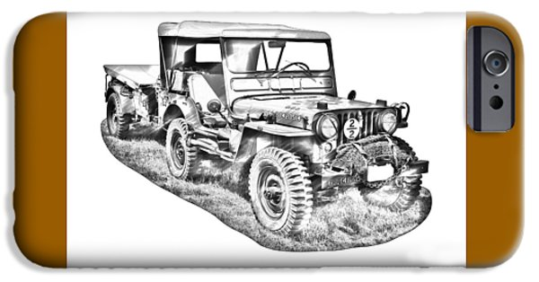 Trailers iPhone Cases - Willys World War Two Army Jeep Illustration iPhone Case by Keith Webber Jr