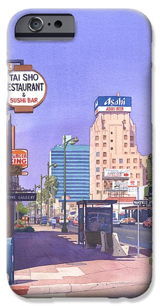Boxes Paintings iPhone Cases - Wilshire Blvd at Mansfield iPhone Case by Mary Helmreich