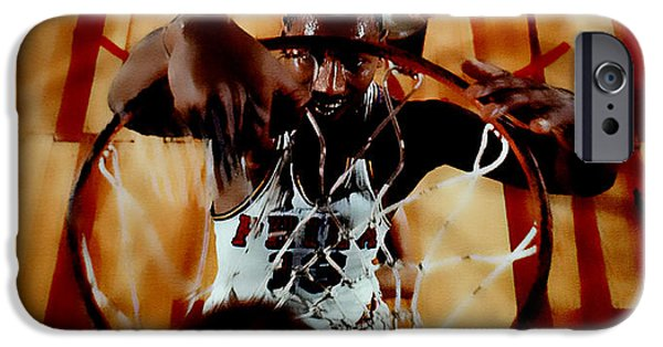 Slam Mixed Media iPhone Cases - Wilt Chamberlain iPhone Case by Brian Reaves