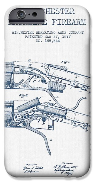 Weapon iPhone Cases - Winchester Firearm Patent Drawing from 1877 -  Blue Ink iPhone Case by Aged Pixel