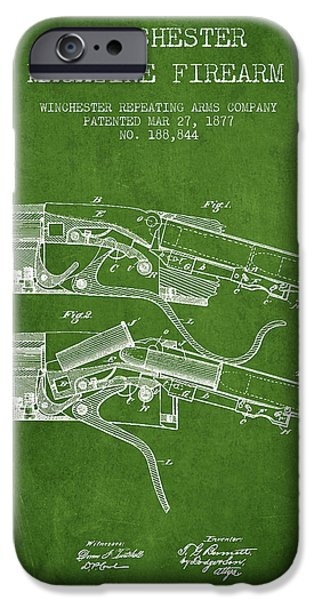 Weapon iPhone Cases - Winchester Firearm Patent Drawing from 1877 - Green iPhone Case by Aged Pixel