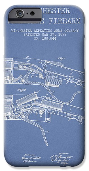 Weapon iPhone Cases - Winchester Firearm Patent Drawing from 1877 - Light Blue iPhone Case by Aged Pixel