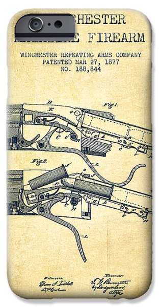 Weapon Digital iPhone Cases - Winchester Firearm Patent Drawing from 1877 - Vintage iPhone Case by Aged Pixel