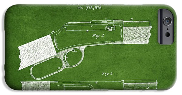 Weapon iPhone Cases - Winchester Firearm Patent Drawing from 1888- Green iPhone Case by Aged Pixel