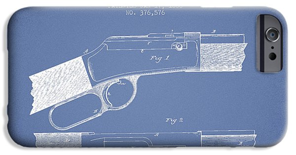 Weapon iPhone Cases - Winchester Firearm Patent Drawing from 1888- Light Blue iPhone Case by Aged Pixel
