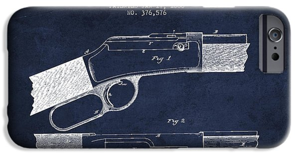 Weapon iPhone Cases - Winchester Firearm Patent Drawing from 1888- Navy Blue iPhone Case by Aged Pixel