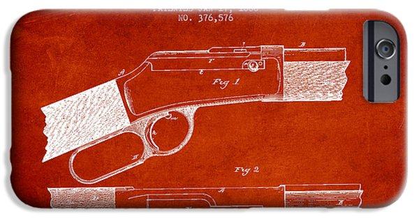 Weapon iPhone Cases - Winchester Firearm Patent Drawing from 1888- Red iPhone Case by Aged Pixel