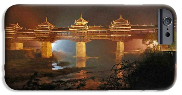 Chinese Peasant iPhone Cases - Wind and Rain Bridge iPhone Case by Lanjee Chee