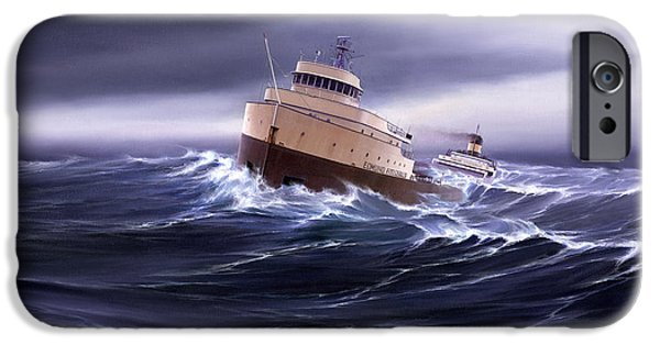 Storm Paintings iPhone Cases - Wind and Sea Astern iPhone Case by Captain Bud Robinson