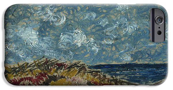 Printmaking iPhone Cases - Wind blowing the clouds around over the sea. Rincon Ventura California iPhone Case by Cathy Peterson